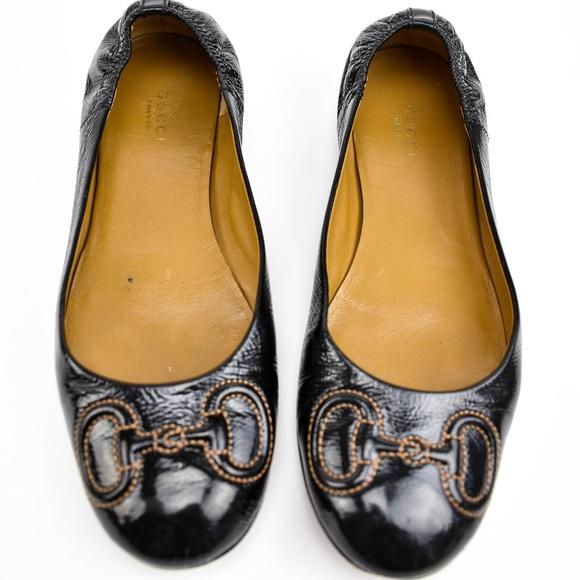 455da6f82 Gucci Shoes | Black Leather Horsebit Ballet Flats Sz 75 | Poshmark